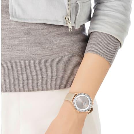 Montre Octea Nova, Bracelet en cuir, gris, PVD doré rose - Swarovski, 5295326