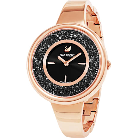 Crystalline Pure Watch, Metal bracelet, Black, Rose-gold tone PVD - Swarovski, 5295334