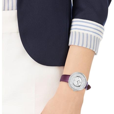 Reloj Crystalline Pure, Correa de piel, violeta, tono plateado - Swarovski, 5295355