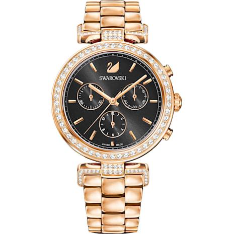 Montre Era Journey, Bracelet en métal, gris, PVD doré rose - Swarovski, 5295366