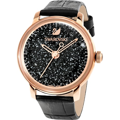 Crystalline Hours Watch, Leather strap, Black, Rose-gold tone PVD - Swarovski, 5295377