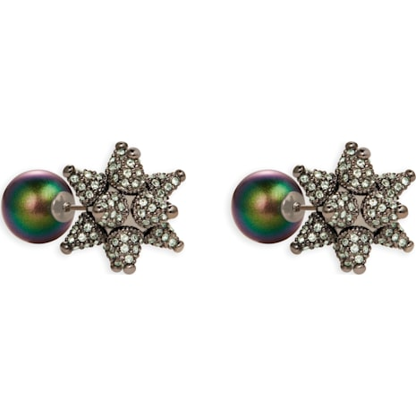 Kalix Double Stud Pierced Earrings, Gunmetal plating - Swarovski, 5298567
