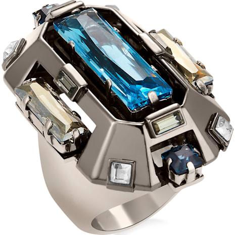 Cristaux Deco Cocktail Ring, ruthenium plating - Swarovski, 5298742