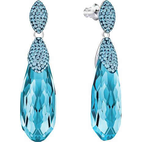 Height Pierced Earrings, Blue, Rhodium Plating - Swarovski, 5343747