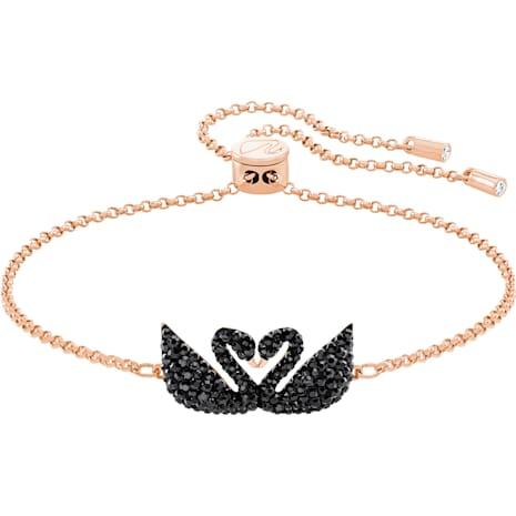 Braccialetto Swarovski Iconic Swan, nero, Placcato oro rosa - Swarovski, 5344132