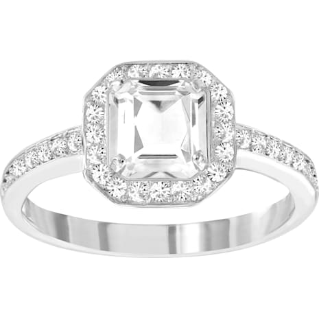 Attract Light Square Ring, White, Rhodium Plating - Swarovski, 5345466