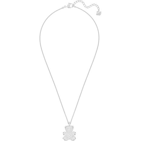 Teddy 3D Pendant, White, Rhodium plated - Swarovski, 5345684