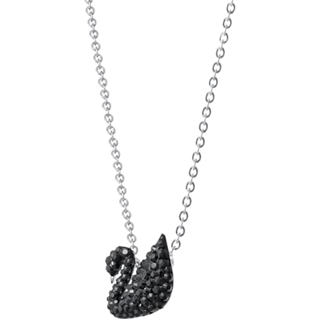 Swarovski Iconic Swan Pendant, Black, Rhodium plated - Swarovski, 5347330
