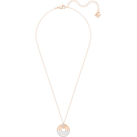 Circle Pendant, White, Rose-gold tone plated - Swarovski, 5349193