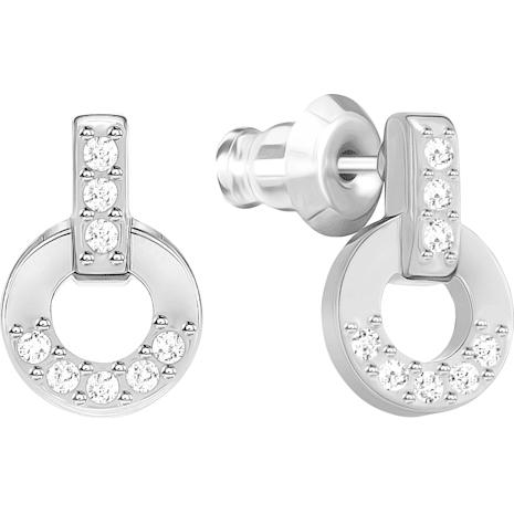 Pendientes de botón Circle, blanco, baño de rodio - Swarovski, 5349195