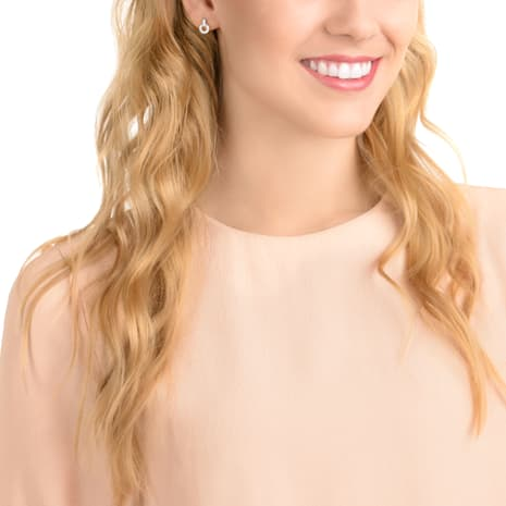 Circle Stud Pierced Earrings, White, Rhodium plating - Swarovski, 5349195