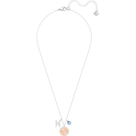 Zodiac Pendant, Pisces, Blue, Rhodium plated - Swarovski, 5349219