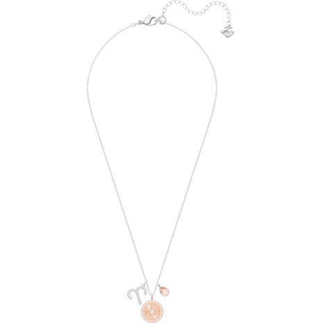 Zodiac Pendant, Aries, Pink, Rhodium plated - Swarovski, 5349220