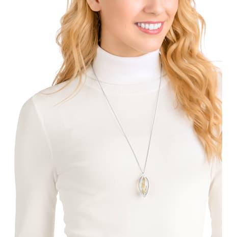 Hailey Pendant, Medium, Golden, Rhodium plating - Swarovski, 5349349