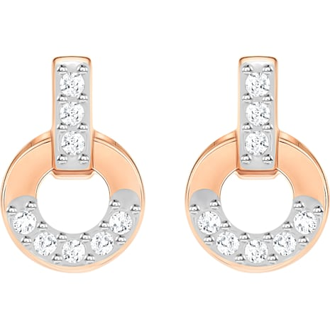 Circle Stud Pierced Earrings, White, Rose-gold tone plated - Swarovski, 5350653