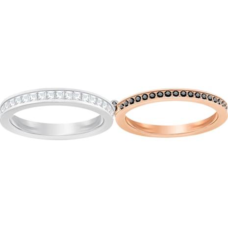 Hint 雙環戒指, 白色, 混搭多種鍍層 - Swarovski, 5350672