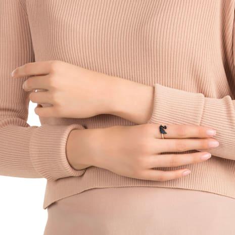 Swarovski Iconic Swan 戒指, 黑色, 鍍玫瑰金色調 - Swarovski, 5358024