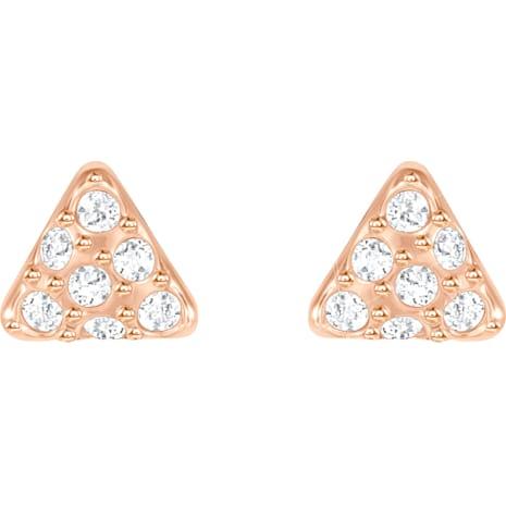 Facet Swan Pierced Earrings, White, Rose-gold tone plated - Swarovski, 5358058