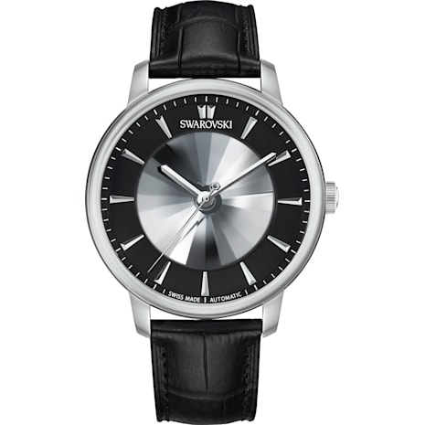 Atlantis Limited Edition Automatic Men's Watch, Leather strap, Black, Stainless steel - Swarovski, 5364209