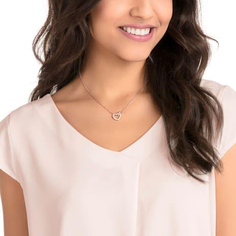 Lovely Necklace, White, Rose-gold tone plated - Swarovski, 5368540