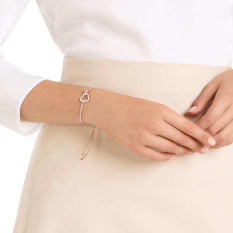 Lovely Bileklik, Beyaz, Pembe altın rengi kaplama - Swarovski, 5368541