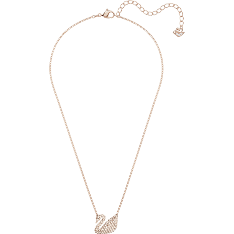 Swarovski Iconic Swan Pendant, White, Rose-gold tone plated - Swarovski, 5368988