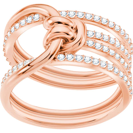 Lifelong 寬版戒指, 白色, 鍍玫瑰金色調 - Swarovski, 5369797