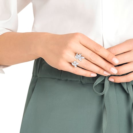 Louison 開口戒指, 白色, 鍍白金色 - Swarovski, 5372962