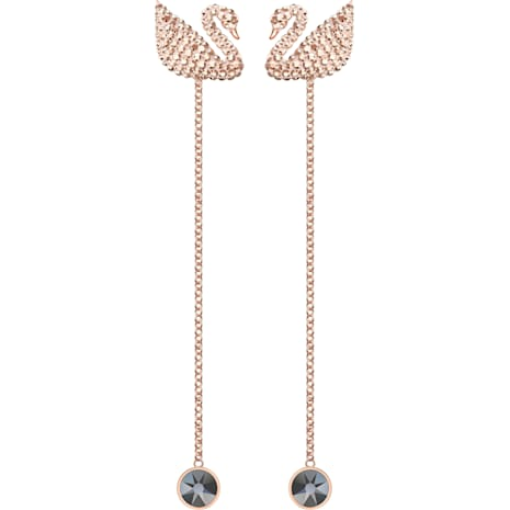 Swarovski Iconic Swan Серьги, Коричневый Кристалл, Покрытие оттенка розового золота - Swarovski, 5373164