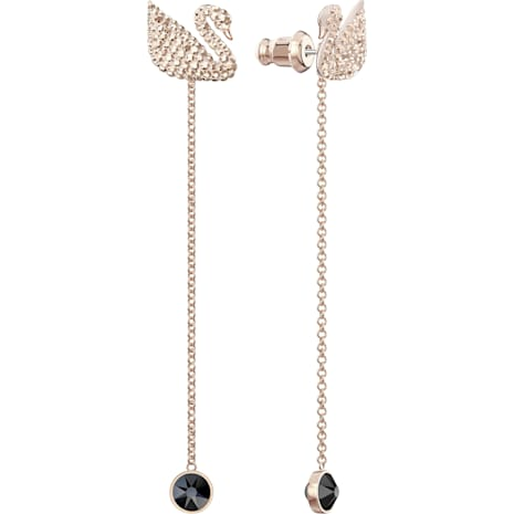 Swarovski Iconic Swan İğneli Küpeler, Kahverengi, Pembe altın rengi kaplama - Swarovski, 5373164