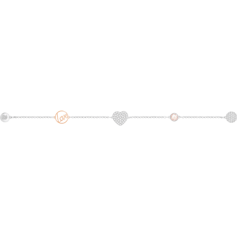 Swarovski Remix Collection Heart Strand, Pink, Mixed metal finish - Swarovski, 5373220
