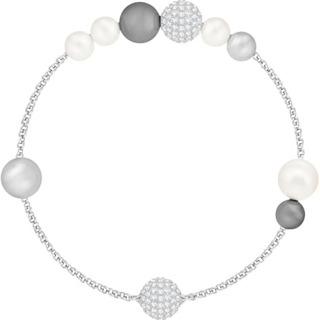 Swarovski Remix Collection Pearl Strand, gris, Baño de Rodio - Swarovski, 5373259