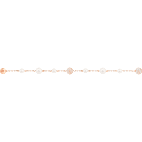 Swarovski Remix Collection Round Pearl Strand, 白色, 鍍玫瑰金色調 - Swarovski, 5373260
