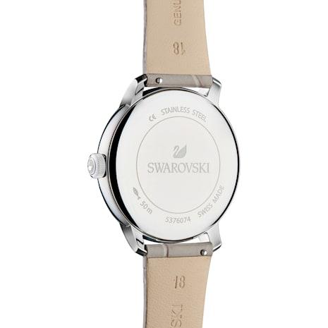 Crystalline Hours Quartz Watch, Leather strap, Gray, Stainless steel - Swarovski, 5376074