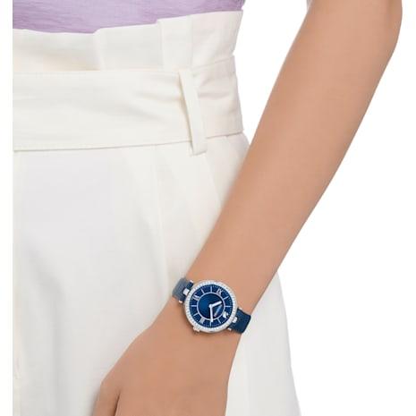 Montre Aila Dressy Lady, Bracelet en cuir, bleu, acier inoxydable - Swarovski, 5376633