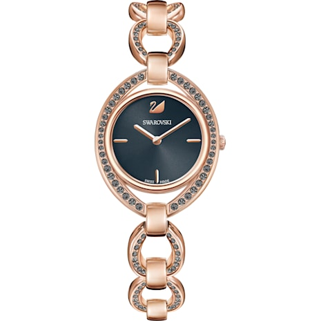 Stella Watch, Metal bracelet, Dark grey, Rose-gold tone PVD - Swarovski, 5376806
