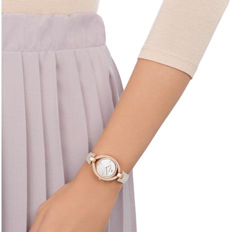 Montre Stella, Bracelet en cuir, gris, PVD doré rose - Swarovski, 5376830