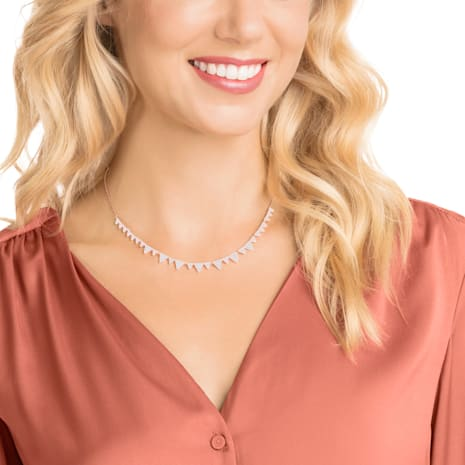 Lima Necklace, White, Rose-gold tone plated - Swarovski, 5377376