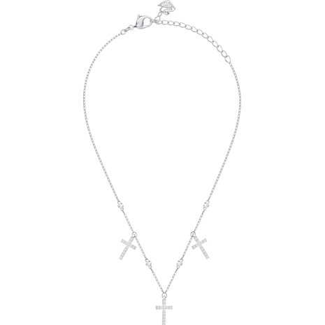 Mini Cross Choker, White, Rhodium plating - Swarovski, 5377792