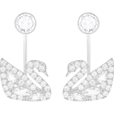 Swan Lake Pierced Earring Jackets, White, Rhodium plated - Swarovski, 5379944