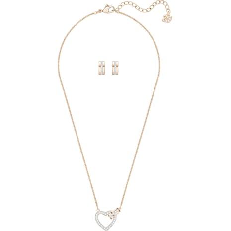 Lovely Set, White, Rose-gold tone plated - Swarovski, 5380718