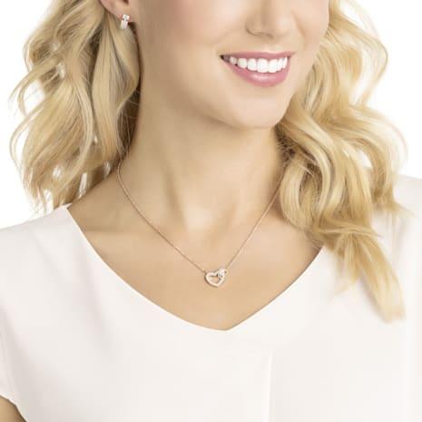 Parure Lovely, blanc, Métal doré rose - Swarovski, 5380718