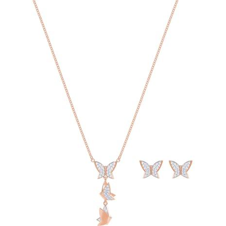 Conjunto Lilia, blanco, Baño en tono Oro Rosa - Swarovski, 5382365