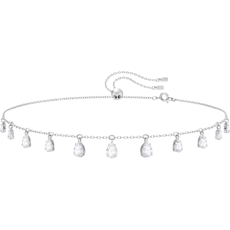 Collar Attract Pear, blanco, Baño de Rodio - Swarovski, 5384371