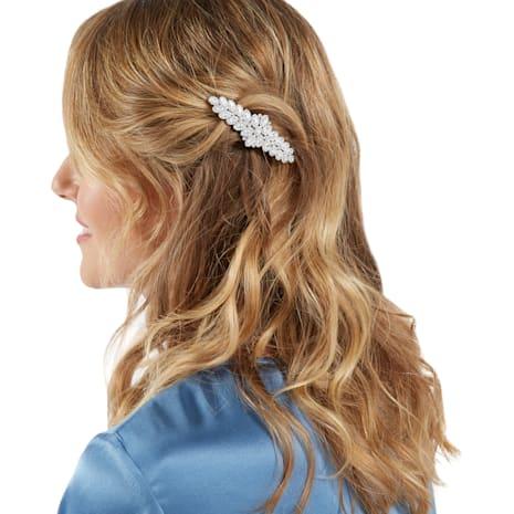 Baron Hair Clip, White, Palladium plating - Swarovski, 5384992