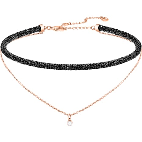 Long Beach Necklace, Black, Rose-gold tone plated - Swarovski, 5385838