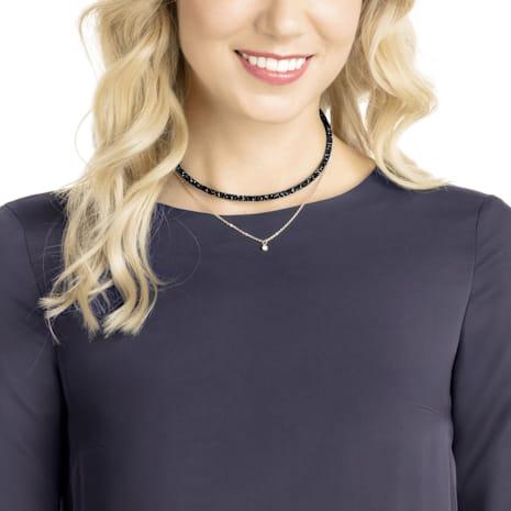 Long Beach Halskette, schwarz, Rosé vergoldet - Swarovski, 5385838