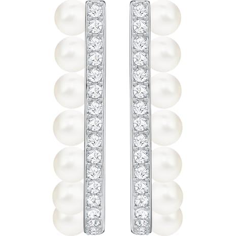 Lisboa 穿孔耳掛式耳環, 白色, 鍍白金色 - Swarovski, 5388860