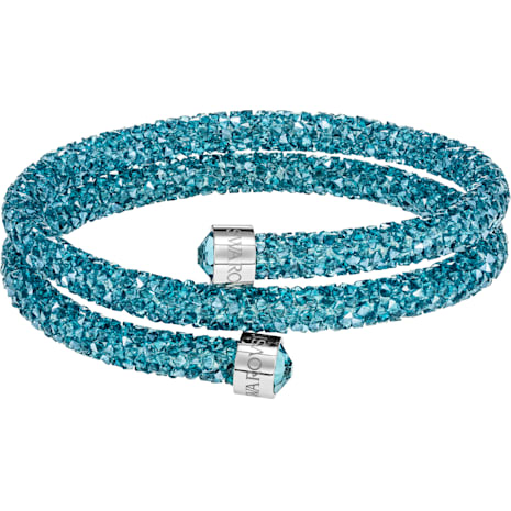 Crystaldust Double Bangle, Aqua, Stainless steel - Swarovski, 5389169