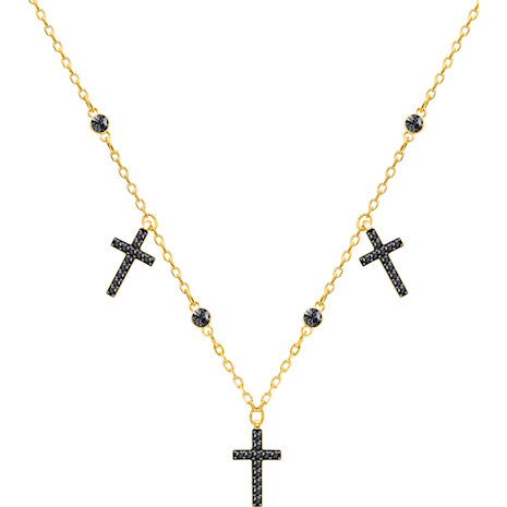 Mini Cross Choker, Grey, Gold-tone plated - Swarovski, 5395809